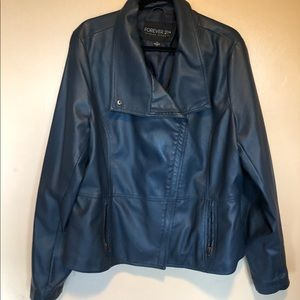 "Forever21 Blue moto inspired ""leather"" jacket - 3X"